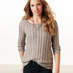 American Eagle Tan Pointelle Cable Knit Sweater